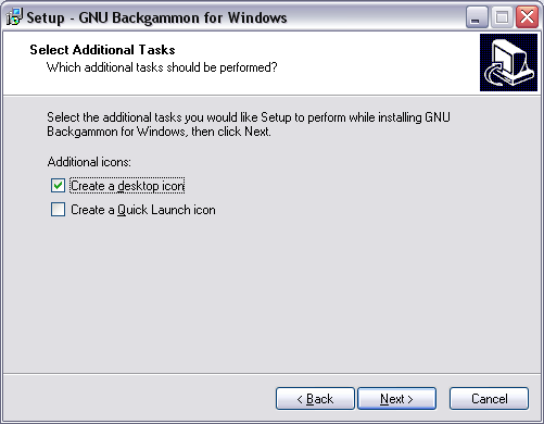 image of installation screen. Select additional Tasks.