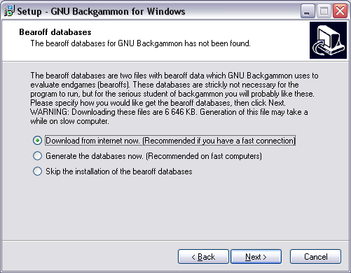 image of installation screen. Bearoff databases.